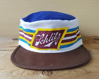 1d3d2487c815a Vintage 80s SCHLITZ BEER Painter Hat Pabst Brewing Defunct Promotional  Retro Striped Pillbox Cap Elasticized Ballcap Universal Industries