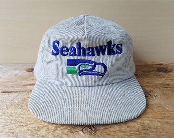 SEATTLE SEAHAWKS Original Vintage Gray Corduroy Trucker Snapback Hat NFL  Football Rare Baseball Cap Native Mask Logo Embroidered Ballcap 383be9bef