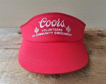 d0e5e37d83d COORS Vintage 80s Volunteers Promo Sun Visor Strapback Hat Beer Sponsor  Alcoholic Beverage Community Enrichment Beach Cap