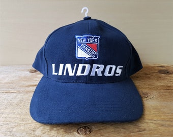 d6f9f53cfe0 Eric LINDROS  88 New York Rangers Vintage Embroidered Navy Strapback Hat  NHL Ice Hockey The Home Game Dad Cap NYR Team Ballcap