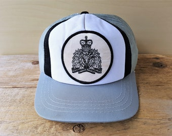 Vintage 80s Royal Canadian Mounted Police Trucker Hat Gray Mesh Snapback  RCMP Polyester Adjustable Baseball Cap GT Lanning Young An Ballcap d8f2860175a