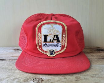 e476bdc0ce18fd LA ANHEUSER BUSCH Beer Vintage 80s Red Mesh Trucker Snapback Hat Promo Cap  Old School Stylemaster Throwback Brewery Ballcap American made
