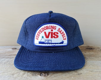 de32d18976ef3e Vintage 80s STEVEDORING SAFELY ViS Dark Denim Trucker Snapback Hat Baseball  Cap Insulated Adjustable Wilson Ballcap