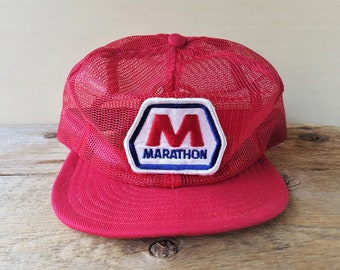 Vintage 80s MARATHON Gas   Oil Patch Full Mesh Red Trucker Hat Made in USA  Louisville Snapback Baseball Cap Gasoline Station Promo Ballcap dd97fea2455c