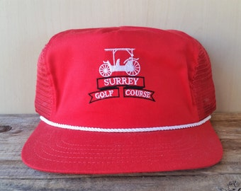 aafeb1b1338 SURREY GOLF COURSE Country Club Vintage 80s Red Mesh Trucker Leather  Strapback Hat Rope Lined Miller Golf Cap Country Club Golfing Ballcap