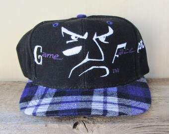 06d20bf4b08 GAME FACE  Put It On  Original Plaid Vintage 90s Snapback Hat Embroidered Otto  Cap Larry Walker Rare Custom Made Colorado Rockies Ballcap