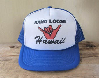 e99ca999db7 HANG LOOSE Hawaii Vintage 80s Blue Mesh Trucker Snapback Hat Surf Shaka  Aloha Hawaiian Style Adjustable Souvenir Cap Surfing Winner Ballcap