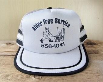 04794c6efdf ALDER TREE SERVICE Vintage 80s Gray Mesh Black Striped Trucker Snapback Hat  Arborist Lumberjack Promo Cap Retro Old School Axe Ballcap