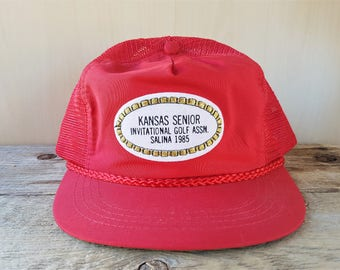 ced821e3592a6 KANSAS Senior Invitational Golf Assn. Salina 1985 Vintage Red Mesh Golfing  Snapback Hat Rope Lined Town Talk Cap Country Club Golf Souvenir