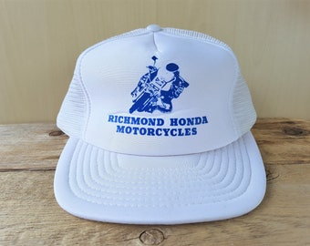 aa8d1cb42988b RICHMOND HONDA MOTORCYCLES Vintage 80's Trucker Hat White Mesh Snapback  Baseball Cap Original Motorcycle Biker Dirt Bike Wilson Ballcap