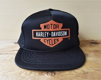 5fad37383b2 Vintage 80s HARLEY DAVIDSON Motorcycles Original Black Mesh Trucker  Snapback Hat Biker Baseball Cap Shield Logo Licensed Adjustable Ballcap
