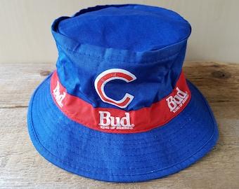 60b838c88d1 CHICAGO CUBS Vintage 90s Bucket Hat BUD King Of Beers Promo Fishing Baseball  Cap Medium Size Budweiser Advertising Made in Hong Kong