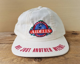 c5a8c0ff9ab AIDELLS Sausage Company Vintage 90s Strapback Hat  Not Just Another Weenie   Promo Baseball Cap Sausages Recipes Print Ballcap