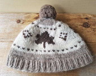Cowichan Raw Wool Toque Hat 3 Maple Leafs   Pom Vintage Hand Made Canadian  First Nations Native Pacific Northwest Hat British Columbia 68dbecde2a9