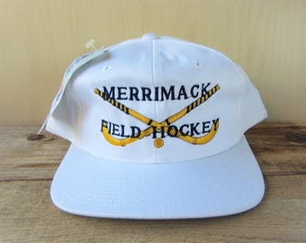 20feec073b1 MERRIMACK FIELD HOCKEY Vintage 90s The Game Snapback Hat Deadstock Original  College Athletics Baseball Cap Official White Embroidered NwT
