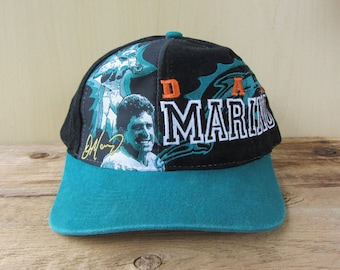 b1415f10cf6 DAN MARINO Florida Marlins Original Vintage 90s Drew Pearson Snapback Hat  Official Licensed NFL Football Adjustable Cap Q.B Club Quarterback