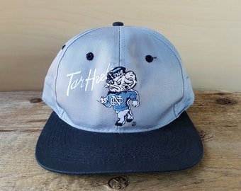 best cheap 22857 2d60d Vintage 90s University of North Carolina TAR HEELS Snapback Hat UNC  Official NcAA College Football Cap Pioneer Industries 2 Tone Ballcap