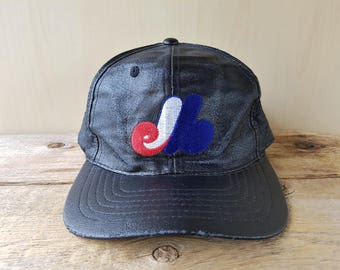 8098ba4894d Vintage Montreal EXPOS Original Distressed Black Faux Leather Snapback Hat  Embroidered Baseball Cap Green Under brim Ballcap