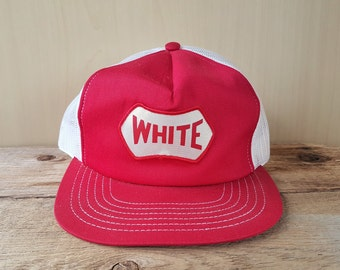 573b222b9b2 Rare Vintage 1970s WHITE Brand Janitorial Products Trucker Hat Retro Mesh  Snapback Baseball Cap MHL Modern Headwear Canada Ballcap