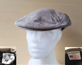 The VILLAGE HAT SHOP Genuine Leather Newsboy Cap Vintage Cabbie Hat Beige  Tan U.S.A. Made San Diego Country Style Size Medium 815462a641c