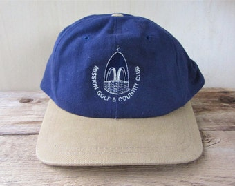 f24ed84662785 MISSION Golf   Country Club Vintage 90s Strapback Hat British Columbia  Golfing Souvenir AJM Cap Embroidered 2 Toned Ballcap