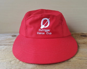 3ac40fb3f27 OUTRIGGER CANOE CLUB Long Bill 5 Panel Hat Original Vintage Red Souvenir Cap  Made in U.S.A. Oversized Visor Hawaiian Water Sports Surfing