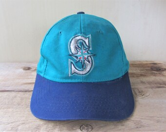release date 78bdb bb614 Seattle MARINERS Boys Sized Vintage 90s Official Licensed MLB Snapback Hat  2 Tone Baseball Cap Competitor Brand Adjustable Ballcap