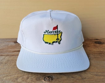 Vintage 80s MASTERS Golf White Leather Strapback Hat Rope Lined Augusta  Golfing Tournament American Needle Cap Rare Made in USA Embroidered fc1e913f5f7