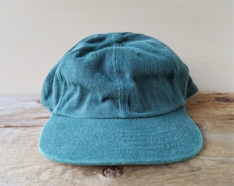 a6632c4bb31 Vintage 90s Drab Olive Green Denim Strapback Hat Blank Deadstock Baseball  Dad Cap Minimal Plain Unstructured Western Concepts Ballcap