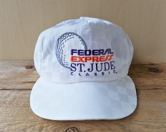 e2ea7dc822a Federal Express St. JUDE Classic Vintage 90s White Checkered Snapback Hat  USA Golfing PGA Tournament Cap Golf American Made Souvenir Ballcap