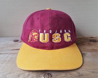 University of Southern California TROJANS Vintage 90s Strapback Hat  Official Licensed Twins Enterprise NCAA Baseball Cap 2 Tone USC Ballcap 0d70d2e534c5