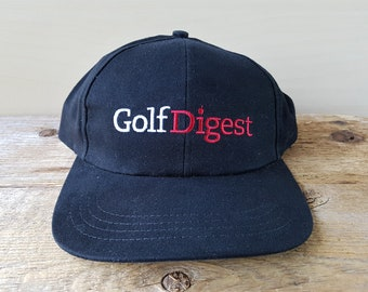 GOLF DIGEST Magazine Vintage Strapback Hat Golfing Texace Adjustable Dad Cap  Embroidered Black Ballcap Made in USA 65a56f0f20d9