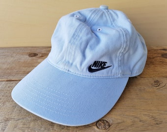 b5288d11 NIKE Original Vintage Strapback Dad Hat 6 Panel Light Blue Cotton Baseball  Cap Official Licensed Small Embroidered Wing Swoosh Promo Ballcap