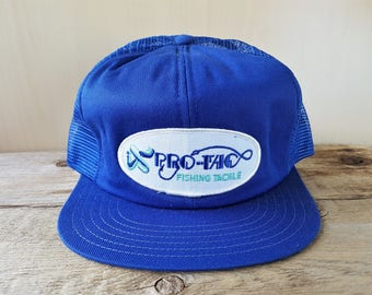 PRO-TAC Fishing Tackle Original Vintage 80s Promo Blue Mesh Trucker  Snapback Hat Sports Fly Fisherman Promo Cap Victory Adjustable Ballcap 89431192cc1c