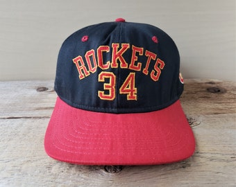 promo code ced56 9310e Vintage 90s Houston ROCKETS  34 Hakeem OLAJUWON Snapback Hat Rare Official  Licensed NbA AjD Basketball Cap Made in USA 1995 2 Tone Ballcap
