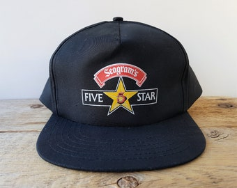 10da0eff3668b Vintage SEAGRAM S FIVE STAR Whisky Snapback Hat with V.O. Award Pin    Embroidered Malt Liquor Promo Baseball Cap Headline Headwear Ballcap