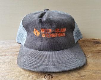 INTER-ISLAND INTERNATIONAL Trucks Vintage Corduroy Snapback Hat Mesh Back  Adjustable Embroidered Trucker Cap Made in Canada K-Brand cef81f921cee