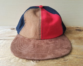 ccb07a5bd6b Vintage 90s Pinwheel Style Strapback Hat Suede Feel Blank Three Toned  Brown