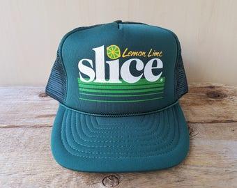 646dc1f86ef SLICE Soda Lemon Lime Vintage 80s Green Trucker Hat PepsiCo Soft Drink  Promo Mesh Snapback Baseball Cap Retro Adjustable San Sun Ballcap