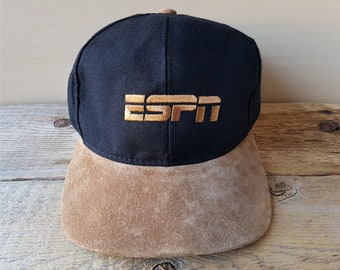 8b69f248ecc49 ESPN2 Vintage 90s Suede Bill Snapback Hat Swingster Made in USA Baseball Cap  American Sports TV Network Station Promo Hipster Ballcap