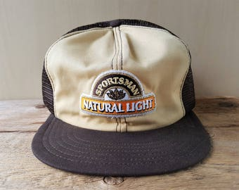 7f0b44ce6bac2 Rare Vintage 80s SPORTSMAN NATURAL LIGHT Cigarettes Trucker Hat Brown Mesh  Snapback Baseball Cap Rothmans Tobacco Victory Cap Made in Canada