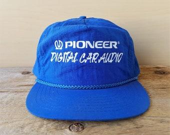 94a0956f1c7 Vintage PIONEER DIGiTAL CAR AUDIO Snapback Hat Blue Nylon Rope Lined  Adjustable Baseball Cap Boom Box Stereo Promo Ballcap