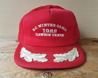 d931114886d BC Winter Games 1988 Dawson Creek Vintage 80s Trucker Hat Red Mesh Snapback  Souvenir Olympic Sports Event Baseball Cap Laurel Leaf Ballcap