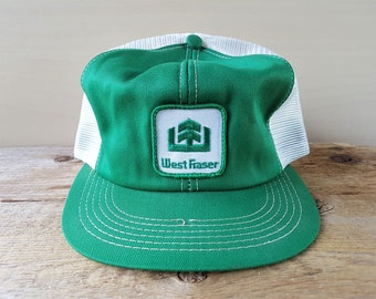 9a166026a6a WEST FRASER Wood Products Vintage 80s White Mesh Green Trucker Snapback Hat  K Brand Canada BC Forestry Lumber Producer Sawmill Promo Cap