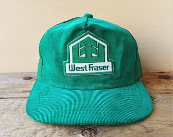 fe4b1e9ac4b4e Vintage 80s WEST FRASER TIMBER Green Corduroy Mesh Trucker Hat Snapback  Quesnel Forestry Lumber Producer Sawmill Patch Cap Young An Ballcap
