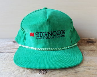 53ae0abca44 Vintage 90s SIGNODE Forest Industry Systems Green Corduroy Snapback Hat  Timber Strapping Packaging Company Promo Baseball Cap Rope Ballcap