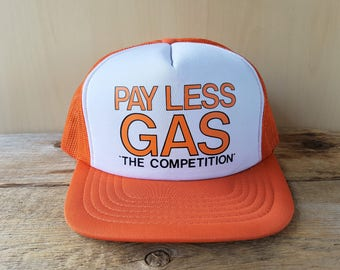 7ef142830a317 Vintage 80s PAY LESS GAS Orange Mesh Trucker Hat  The Competition  Snapback  Baseball Cap Gasoline Station Canadian Petroliana Retro Ballcap