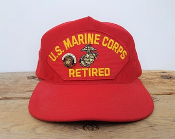 dce41eb37405e1 Vintage U.S. Marine Corps RETIRED Snapback Hat with Operation Desert Shield  Lapel Pin USMC Patch Baseball Cap Made in USA Red Ballcap