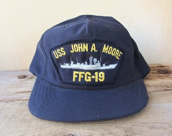 fa78ca1be8d USS John A. Moore FFG-19 Vintage 80s Snapback Hat Navy Military Obsolete  Guided Missile Frigate Cap Defunct Naval Uniform Ballcap