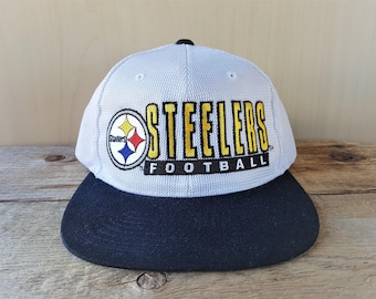 ad3627dfaa139d Pittsburgh STEELERS Snapback Hat Vintage 90s STARTER Shiny Polyester Mesh  Official Licensed NFL Pro Line Football Cap 2 Tone Ballcap